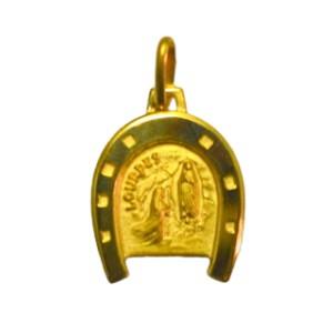 Medaglia rotonda Vergine di Lourdes rosa smalto.
