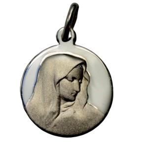 Médaille Vierge ronde en argent de 16mm