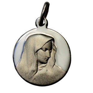 Medalla de plata Virgen redonda de 16 mm