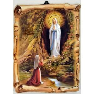 Cadre parchemin de l'Apparition de Lourdes