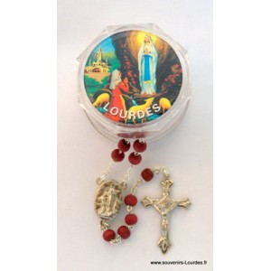 Rosewood Rosary and Lourdes water.