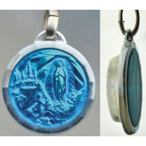 Blue enamel medal with Lourdes water.