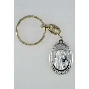 Keyring of Lourdes oval metal