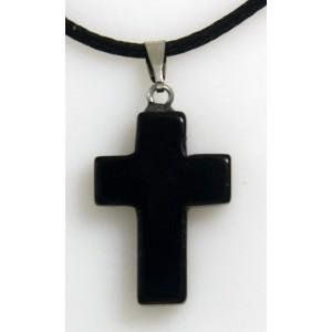 Croix noire pierre onyx