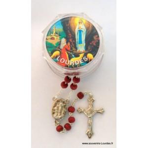 Chapelet en bois de rose à eau de Lourdes