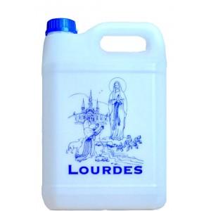 Bidon de 750 millilitres plastique d'eau de Lourdes.