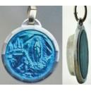 Azul medalla de esmalte con Agua de Lourdes
