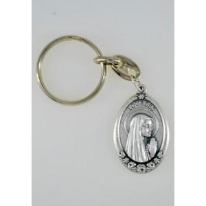 Porte-clés de Lourdes ovale métal